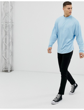 asos-design-organic-oversized-turtleneck-t-shirt-with-long-sleeves-in-sky-blue by asos-design