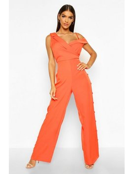 Tailored Asymmetric Sleeveless Button Detail Jumpsuit by Boohoo