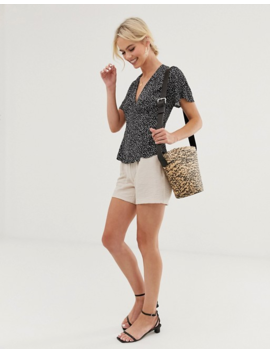 &Amp; Other Stories Dot Print Wrap Blouse In Black by & Other Stories