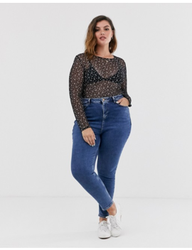 Wednesday's Girl Curve Long Sleeve Top In Ditsy Floral Mesh by Plus Size Top