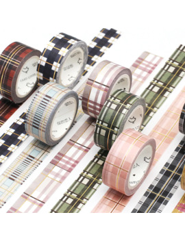 1 Pc Foil Decorative Plaid Dots Kawaii Masking Washi Tape Set Scrapbook Adhesive Japanese Stationery by Ali Express.Com