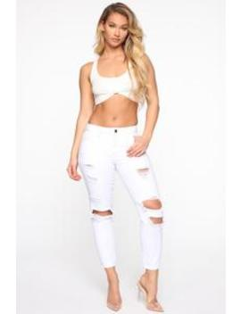 Sierra Distressed Boyfriend Jeans   White by Fashion Nova