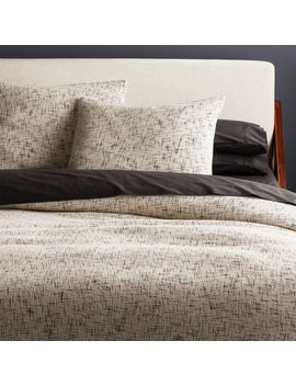 Hatchmark Natural King Duvet Cover by Crate&Barrel