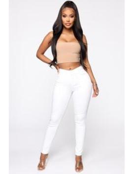 Casual Day Skinny Pants   White by Fashion Nova