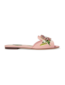 Crystal Embellished Floral Print Canvas Slides by Dolce & Gabbana