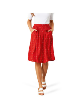 &Me Women's Print Mid Button Skirt   Red by &Me