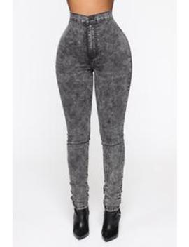 Trippin On You High Waisted Skinny Jeans   Acid Wash Black by Fashion Nova