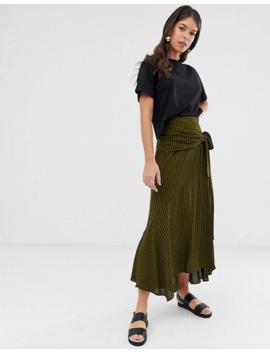 Asos Design Tall Gingham Check Wrap Midi Skirt by Asos Design