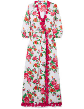 Lena Tassled Floral Print Cotton Voile Wrap Maxi Dress by Rhode