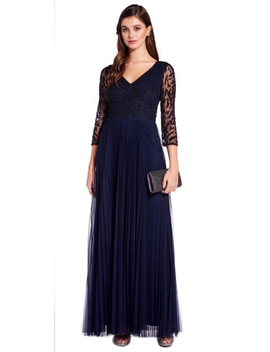 Three Quarter Sleeve Pleated Dress by Adrianna Papell