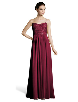 Chiffon Gown With Beaded Bodice And Spaghetti Straps by Adrianna Papell
