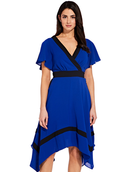 Asymmetrical Colorblock Dress With Flutter Sleeves by Adrianna Papell