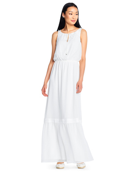 Sleeveless Chiffon Maxi Dress With Lace Details by Adrianna Papell