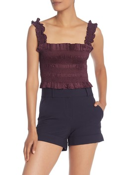 Ruffled Smocked Crop Top by Rebecca Taylor