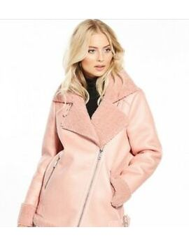 Bnwt Womens V By Very Faux Shearling Aviator Jacket In Pink Size 14. by Ebay Seller
