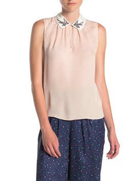 Sparrow Embroidered Collared Silk Blouse by Rebecca Taylor