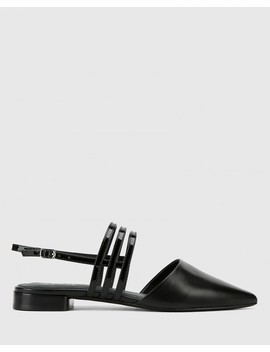 Mase Black Leather With Patent Straps Block Heel Flat by Wittner