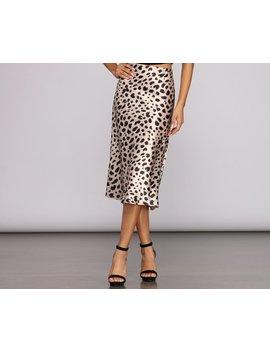 Satin Flare Leopard Midi Skirt by Windsor