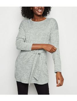 Dark Grey Fine Knit Belted Tunic Top by New Look