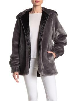 Oversized Faux Fur Lamb Leather Trim Jacket by Helmut Lang