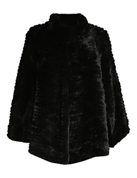 Rex Rabbit Fur Knit Cape by Adrienne Landau