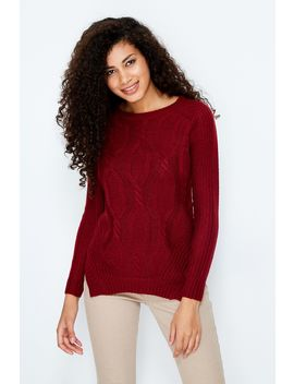Red Cable Stitch Hanky Hem Jumper by Select