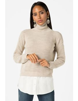 Oatmeal Roll Neck Mg 2 In 1 Jumper by Select