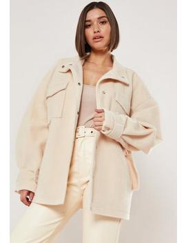 Cream Brushed Oversized Belted Wide Sleeve Jacket by Missguided