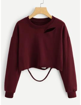 Ripped Detail Raw Hem Sweatshirt by Romwe