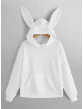 Solid Rabbit Ear Hoodie by Romwe