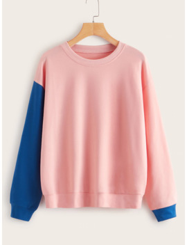 Round Neck Contrast Panel Sweatshirt by Romwe