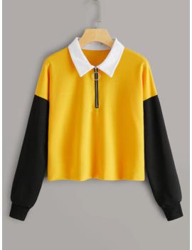 O Ring Zip Half Placket Contrast Panel Sweatshirt by Romwe