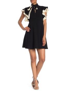 Reiko Silk Contrast Ruffle Sleeve Dress by Cinq A Sept
