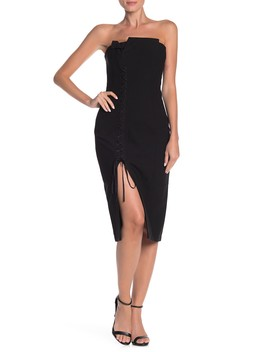 Charlotte Lace Up Strapless Dress by Cinq A Sept