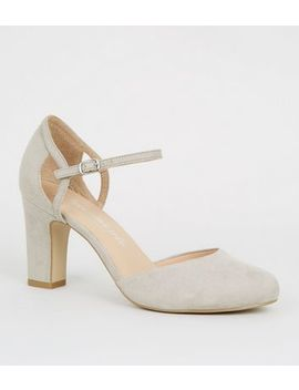 Wide Fit Grey Suedette Block Heels by New Look
