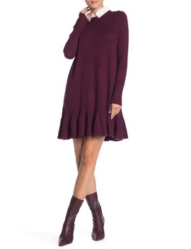 Oralie Ruffle Hem Knit Dress by Cinq A Sept
