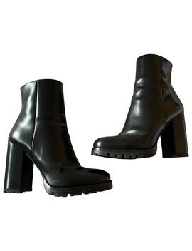 Leather Biker Boots by Prada