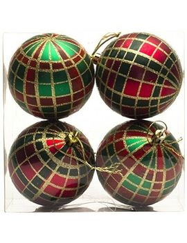 Queens Of Christmas Wl Orn 4 Pk Pld Grg Plaid Ornament Set 4 Pack Green/Red/Gold by Queens Of Christmas