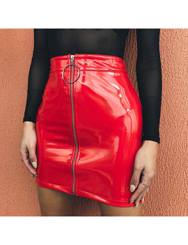Fashion High Waist Pu Zipper Skirt  Women Solid Pu Faux Leather Skirt Stretch Short Pencil Bodycon Mini Skirts by Ali Express.Com