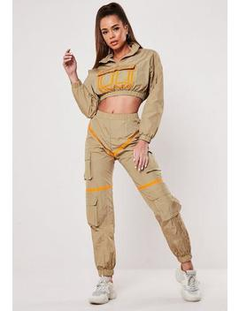 Sand Contrast Binding Co Ord Joggers by Missguided
