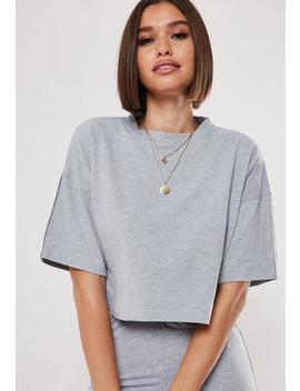 Grey Co Ord Reflective Stripe Crop T Shirt by Missguided