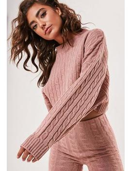 Rose Co Ord Cable Knit Batwing Jumper by Missguided