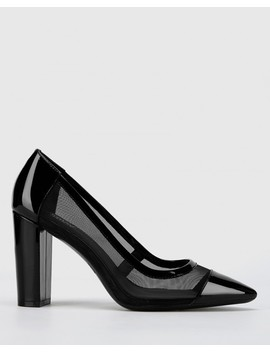 Halyn Black Patent Mesh Cut Out Pointed Toe Block Heel by Wittner