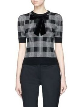 Alice + Olivia Brady Velvet Bow Check Plaid Short Sleeve Sweater $295 Medium 8 by Alice + Olivia