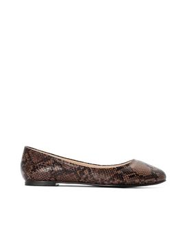 Wide Fit Snake Print Ballet Pumps by La Redoute Collections Plus