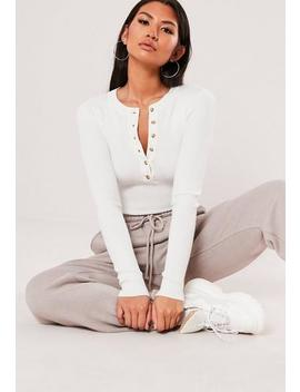 Petite White Rib Button Round Neck Bodysuit by Missguided