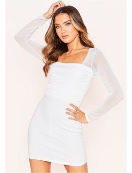 Molly White Ruched Mesh Mini Dress by Missy Empire