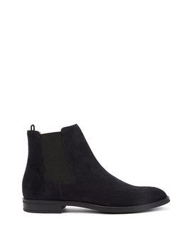 Italian Made Chelsea Boots In Calf Suede by Boss