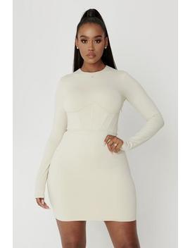 Astrid Long Sleeve Corsetted Waist Mini Dress   Sand by Meshki