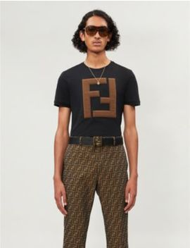 Logo Appliquéd Cotton Jersey T Shirt by Fendi